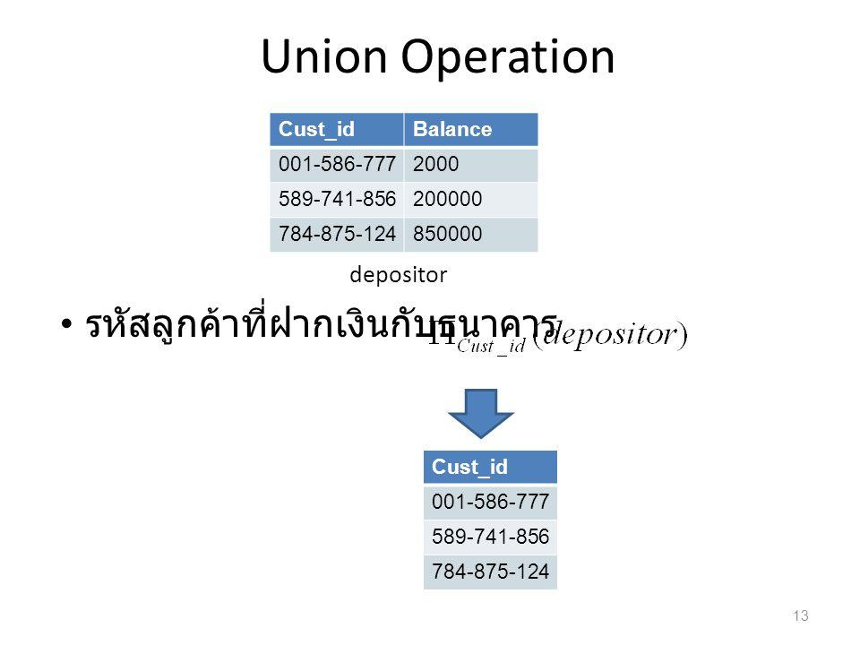 Union Operation รหัสลูกค้าที่ฝากเงินกับธนาคาร depositor Cust_id