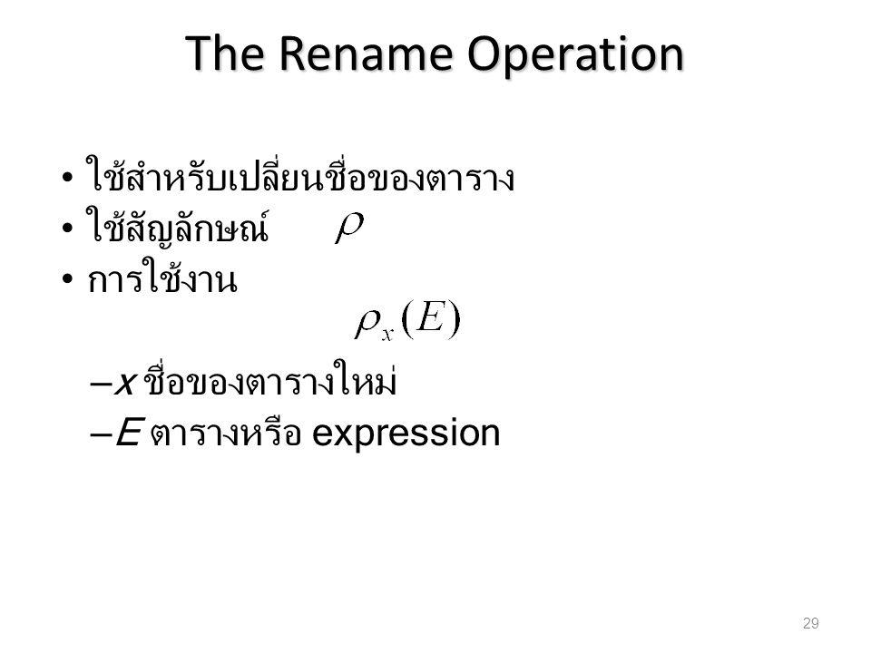 The Rename Operation ใช้สำหรับเปลี่ยนชื่อของตาราง ใช้สัญลักษณ์