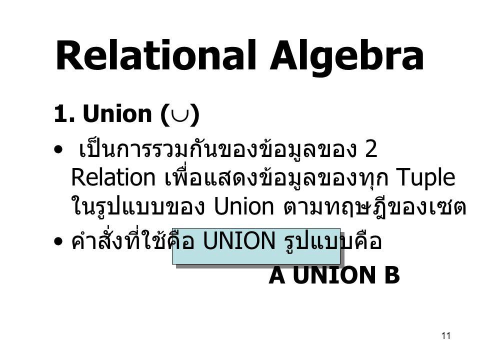 Relational Algebra 1. Union ()
