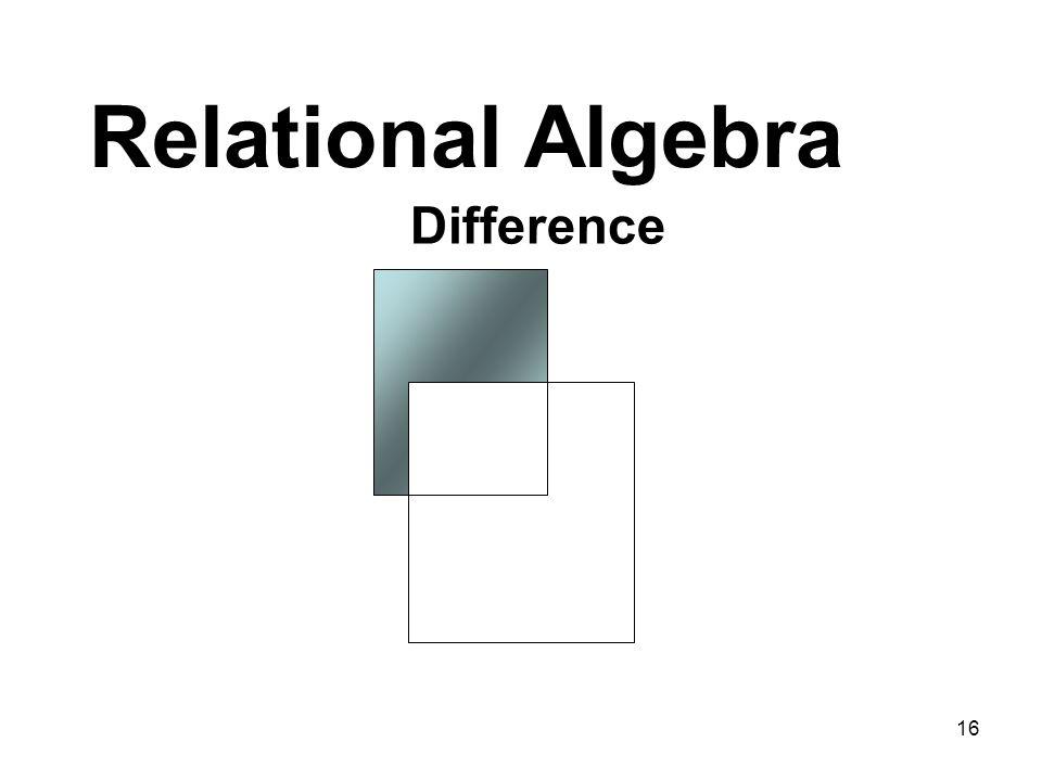 Relational Algebra Difference