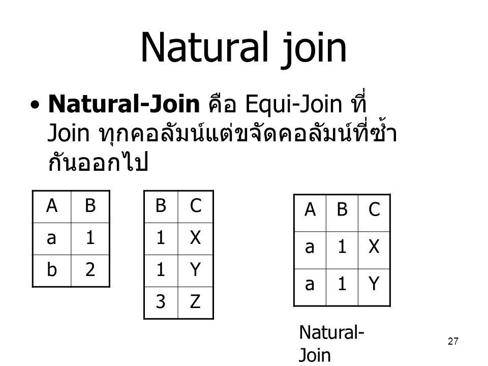 Natural join Natural-Join คือ Equi-Join ที่ Join ทุกคอลัมน์แต่ขจัดคอลัมน์ที่ซ้ำกันออกไป. A. B. a.