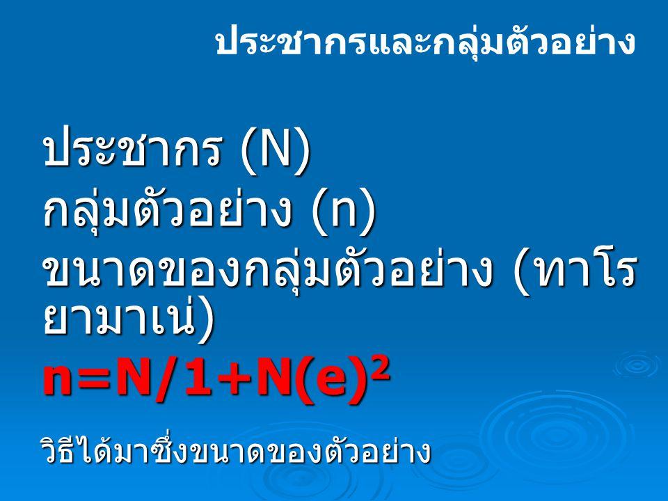 ขนาดของกลุ่มตัวอย่าง (ทาโร ยามาเน่) n=N/1+N(e)2