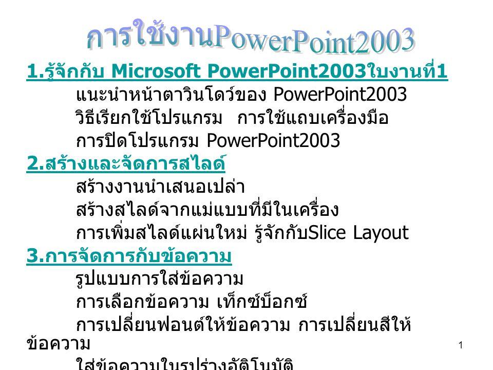 การใช้งานPowerPoint2003 1.รู้จักกับ Microsoft PowerPoint2003ใบงานที่1