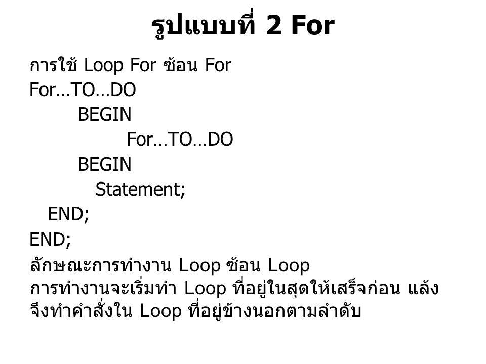 รูปแบบที่ 2 For การใช้ Loop For ซ้อน For For…TO…DO BEGIN Statement;