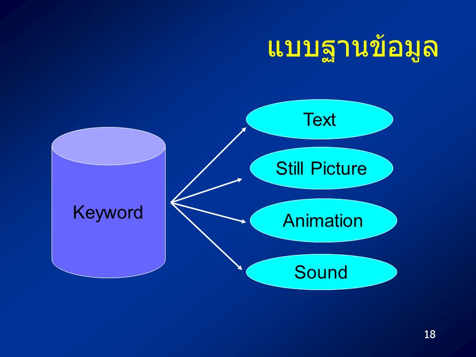แบบฐานข้อมูล Text Keyword Still Picture Animation Sound