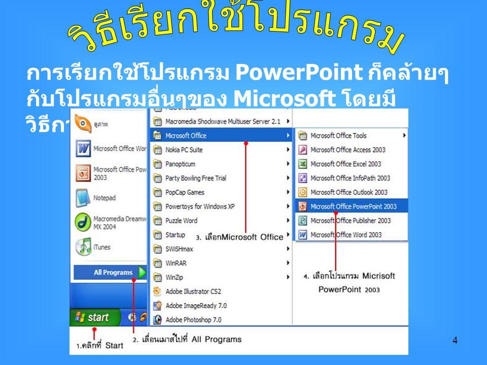 วิธีเรียกใช้โปรแกรม การเรียกใช้โปรแกรม PowerPoint ก็คล้ายๆกับโปรแกรมอื่นๆของ Microsoft โดยมีวิธีการดังนี้