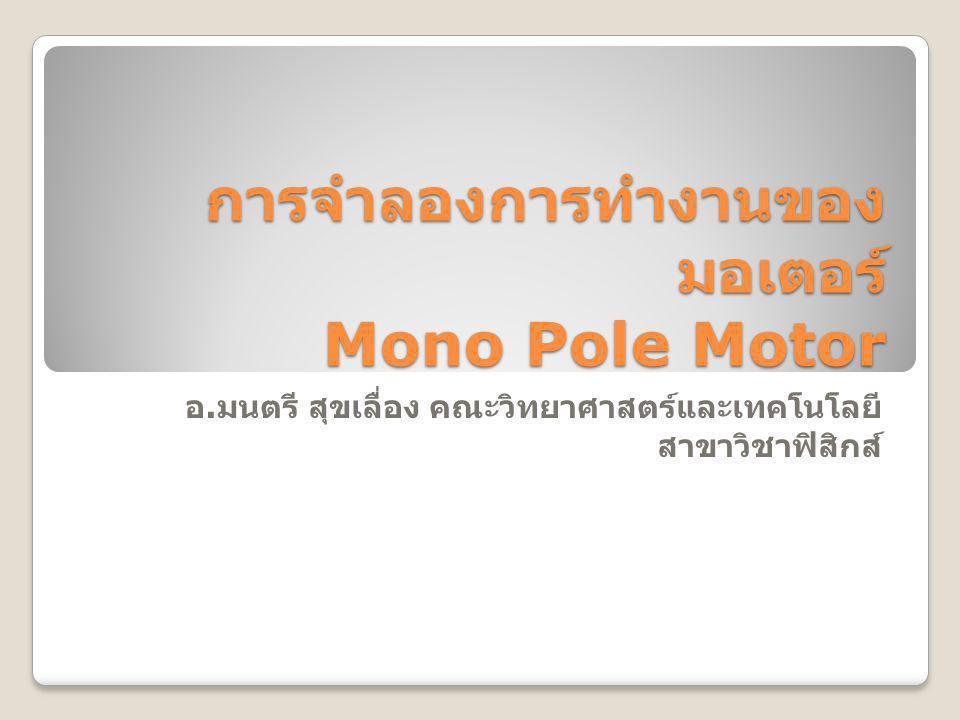 การจำลองการทำงานของมอเตอร์ Mono Pole Motor