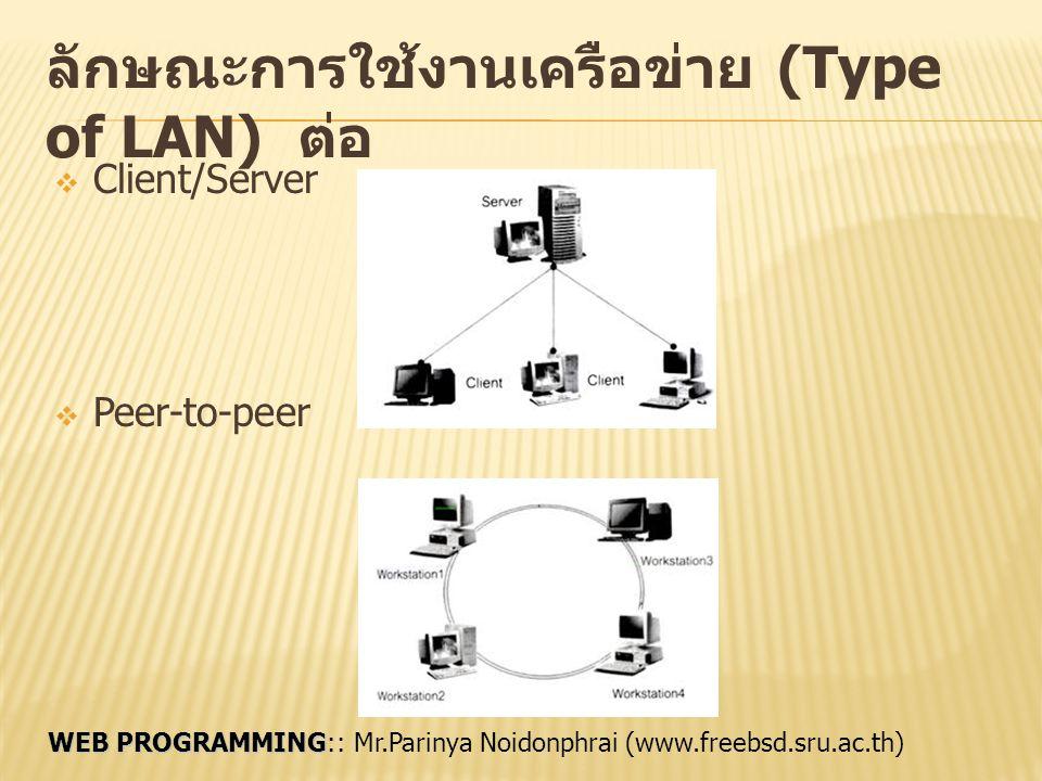 ลักษณะการใช้งานเครือข่าย (Type of LAN) ต่อ