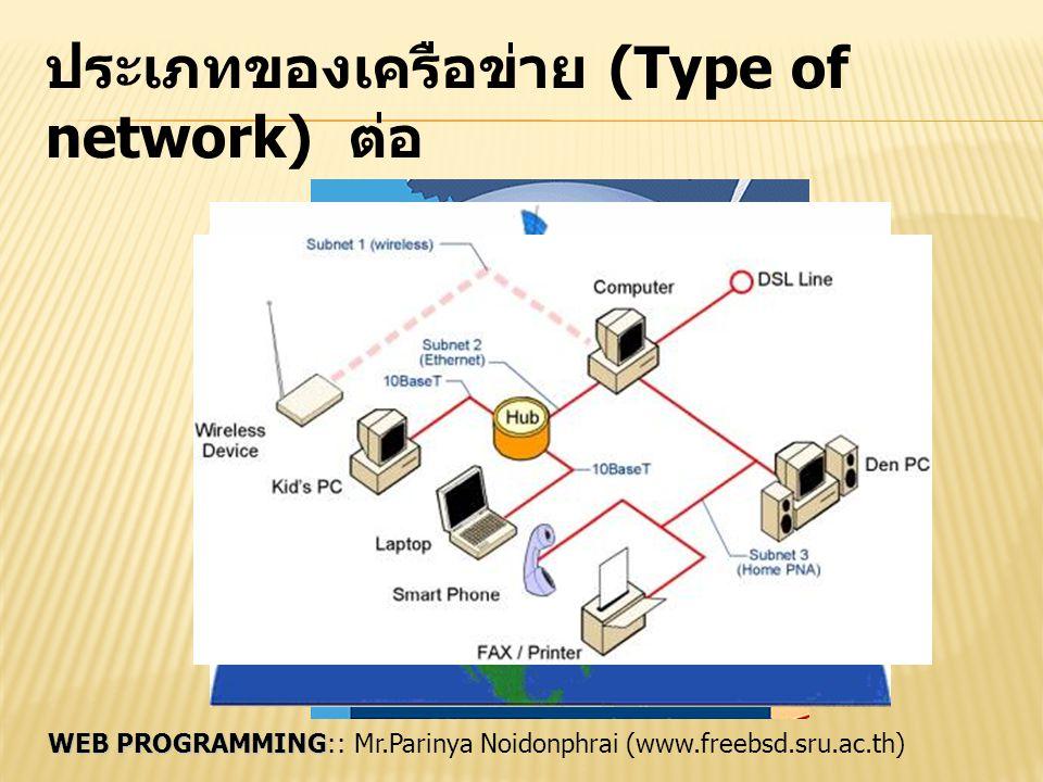 ประเภทของเครือข่าย (Type of network) ต่อ