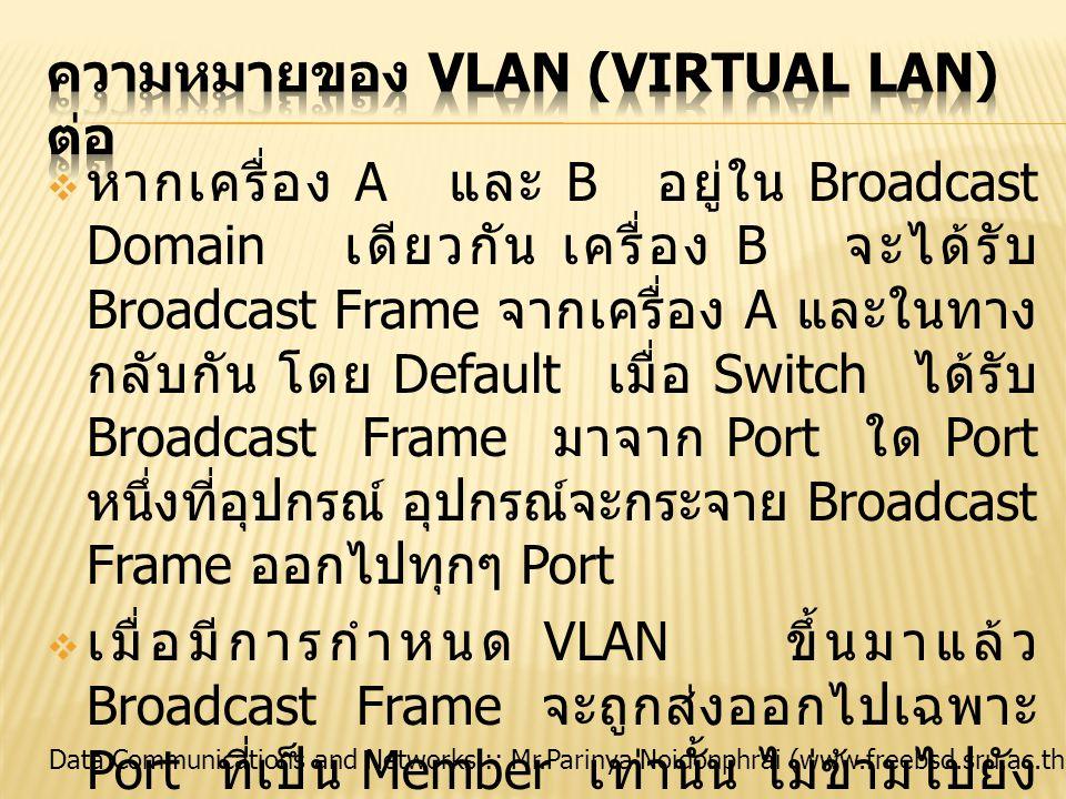 ความหมายของ VLAN (Virtual LAN) ต่อ