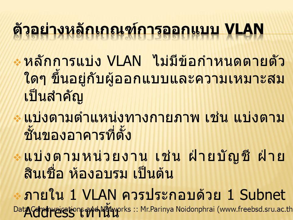 ตัวอย่างหลักเกณฑ์การออกแบบ VLAN