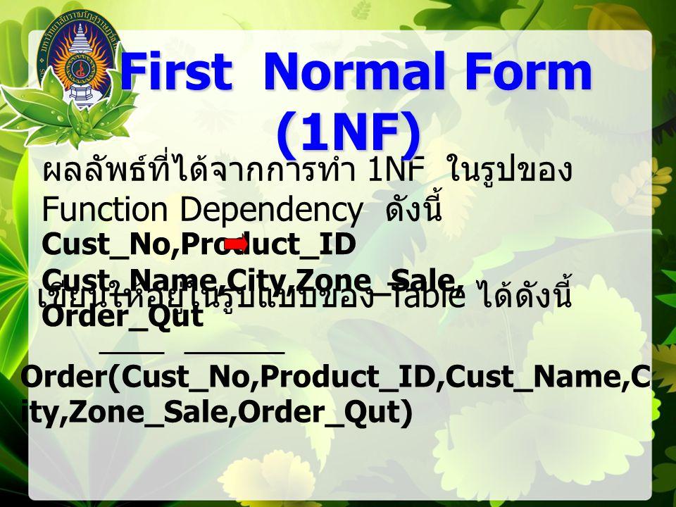 First Normal Form (1NF) ผลลัพธ์ที่ได้จากการทำ 1NF ในรูปของ Function Dependency ดังนี้