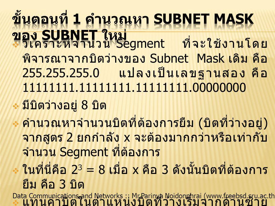 ขั้นตอนที่ 1 คำนวณหา Subnet Mask ของ Subnet ใหม่