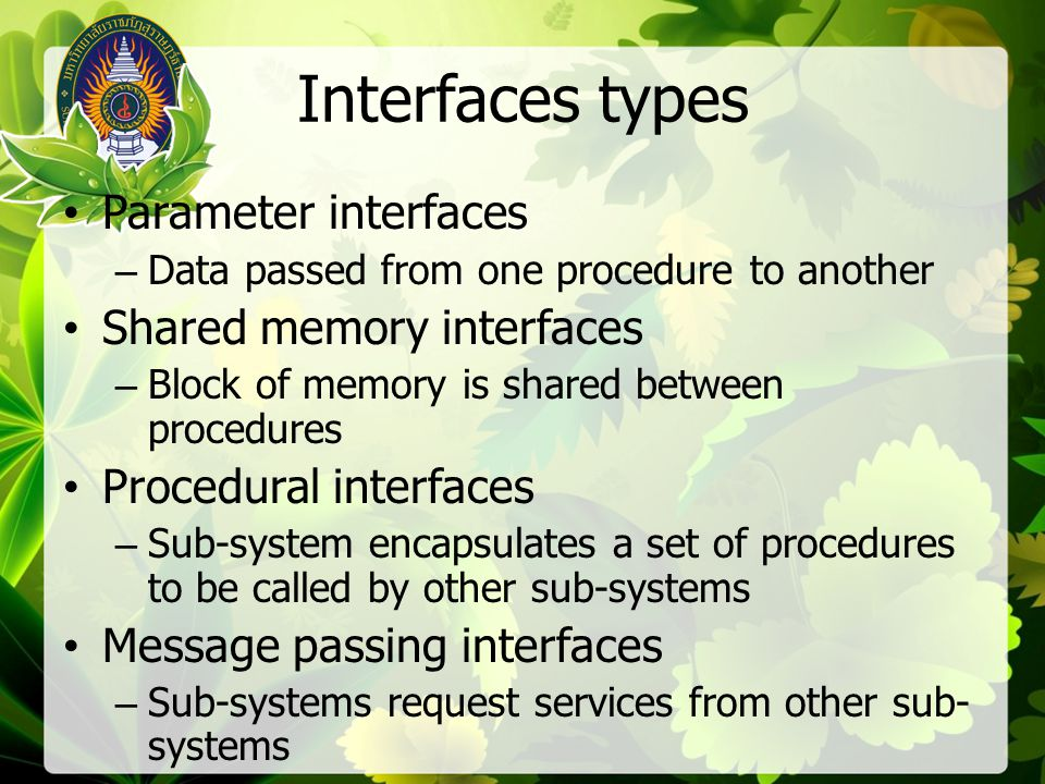Interfaces types Parameter interfaces Shared memory interfaces