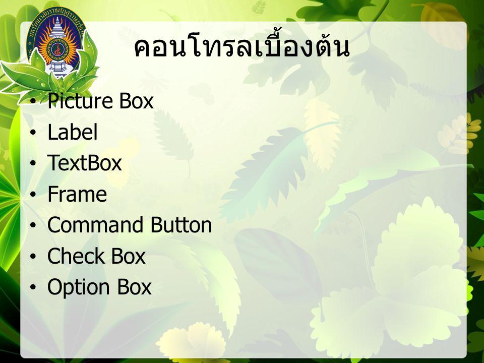 คอนโทรลเบื้องต้น Picture Box Label TextBox Frame Command Button