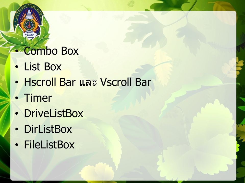 Combo Box List Box Hscroll Bar และ Vscroll Bar Timer DriveListBox DirListBox FileListBox