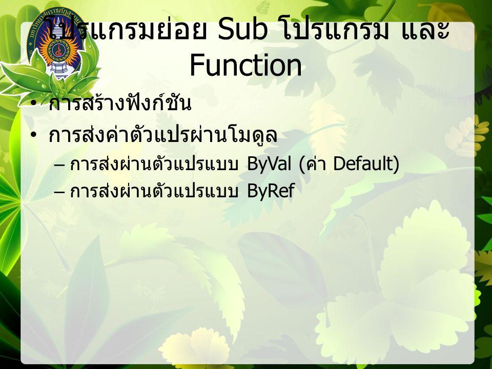 โปรแกรมย่อย Sub โปรแกรม และ Function