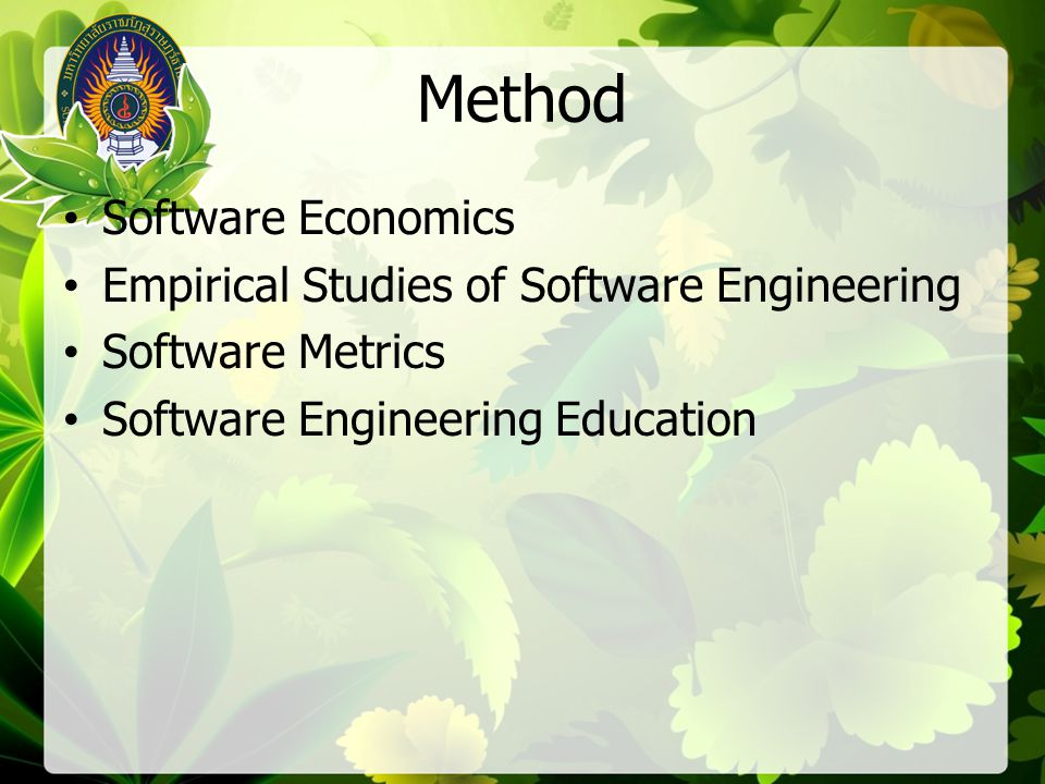 Method Software Economics Empirical Studies of Software Engineering