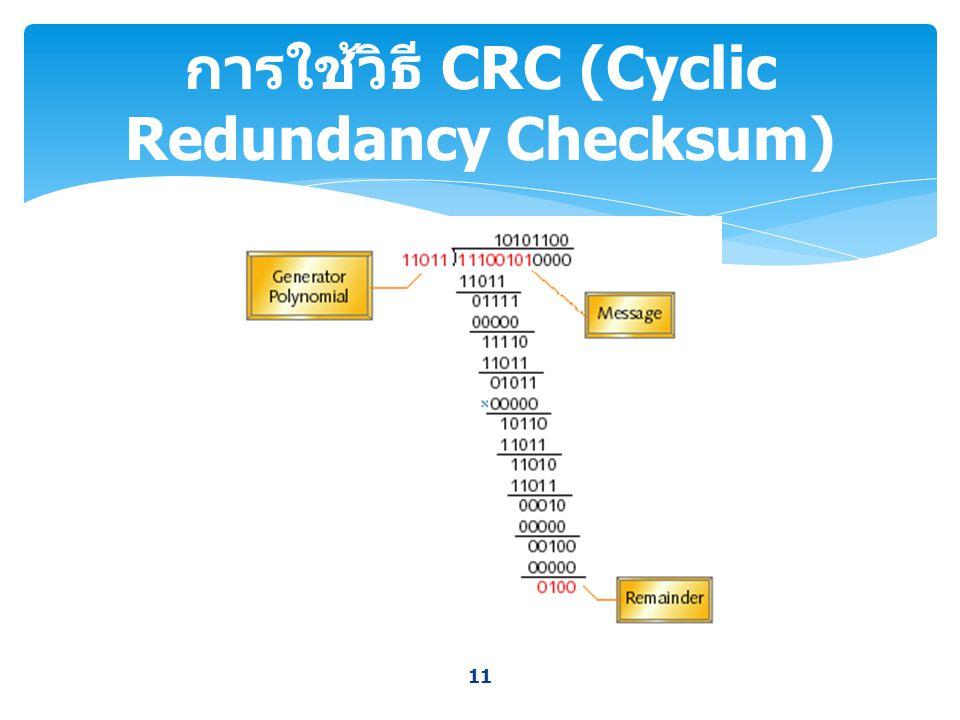 การใช้วิธี CRC (Cyclic Redundancy Checksum)