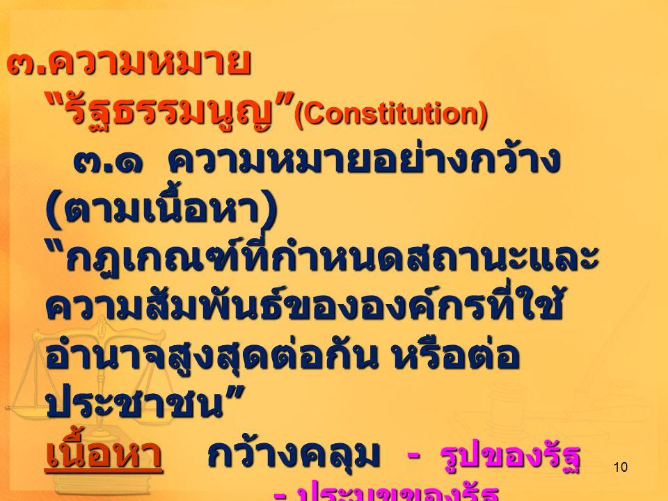 ความหมาย รัฐธรรมนูญ (Constitution)