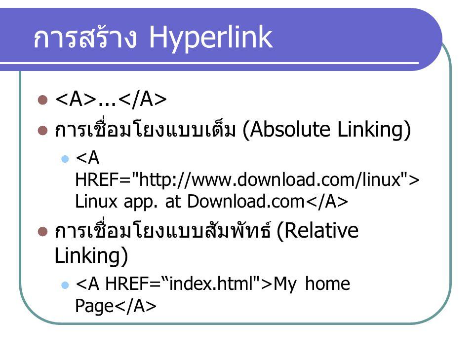 การสร้าง Hyperlink <A>...</A>