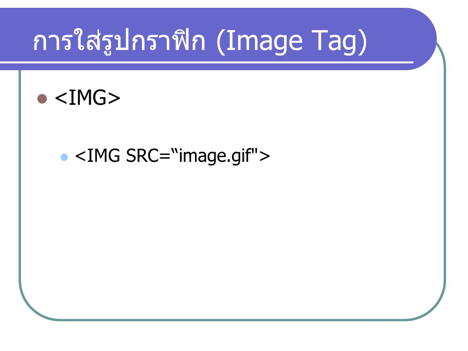 การใส่รูปกราฟิก (Image Tag)