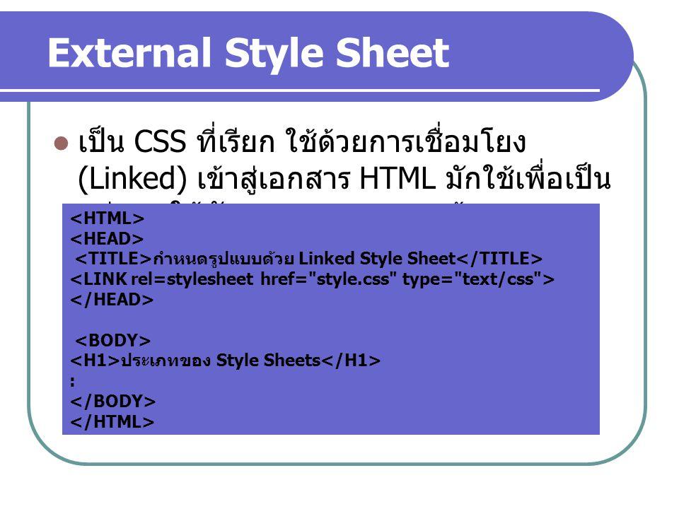 External Style Sheet เป็น CSS ที่เรียก ใช้ด้วยการเชื่อมโยง (Linked) เข้าสู่เอกสาร HTML มักใช้เพื่อเป็นแม่แบบให้กับเอกสารหลายๆ หน้า.
