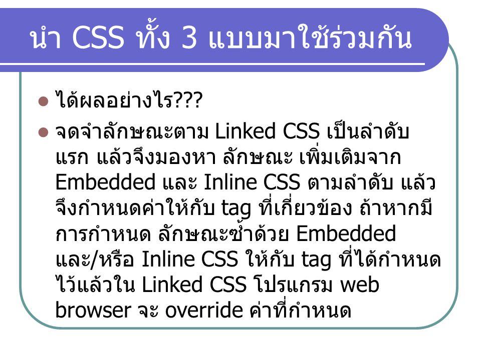 นำ CSS ทั้ง 3 แบบมาใช้ร่วมกัน