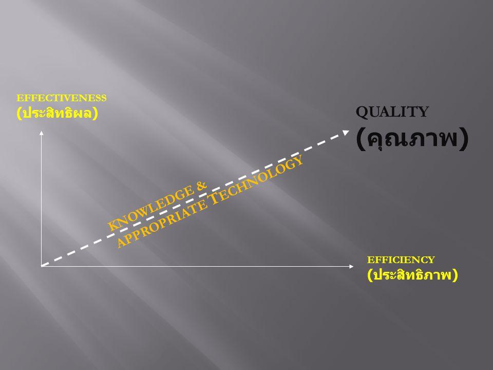 (คุณภาพ) QUALITY (ประสิทธิผล) KNOWLEDGE & APPROPRIATE TECHNOLOGY