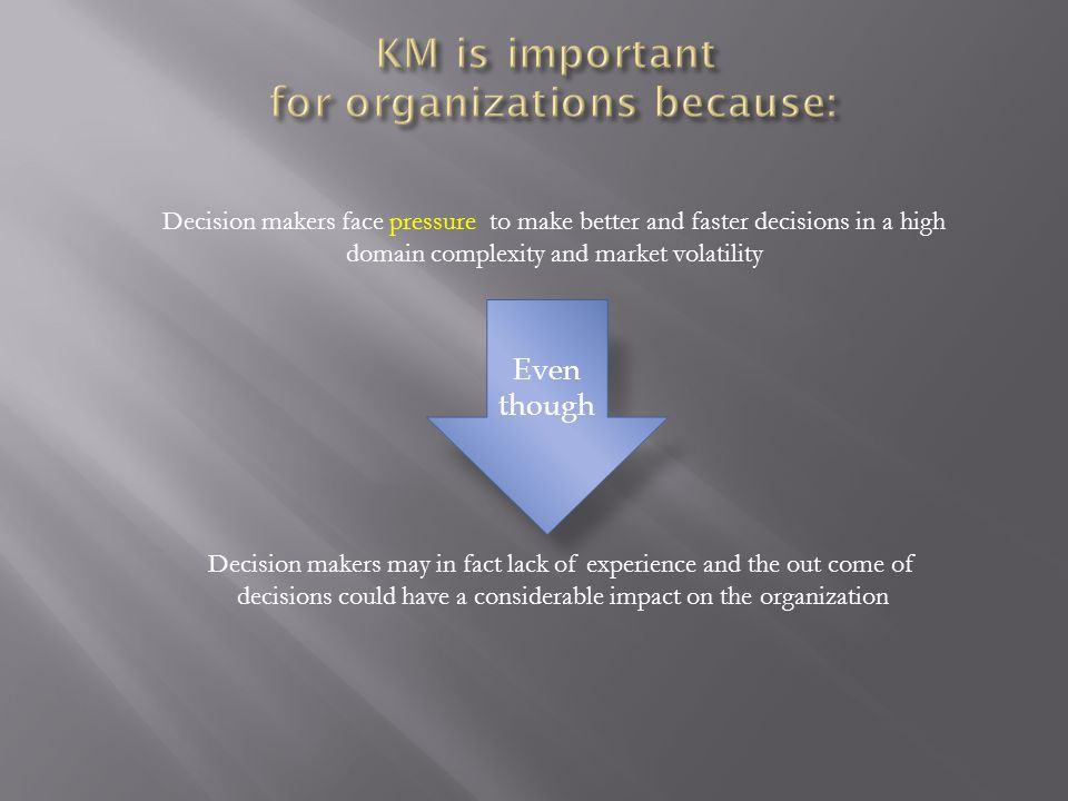 KM is important for organizations because: