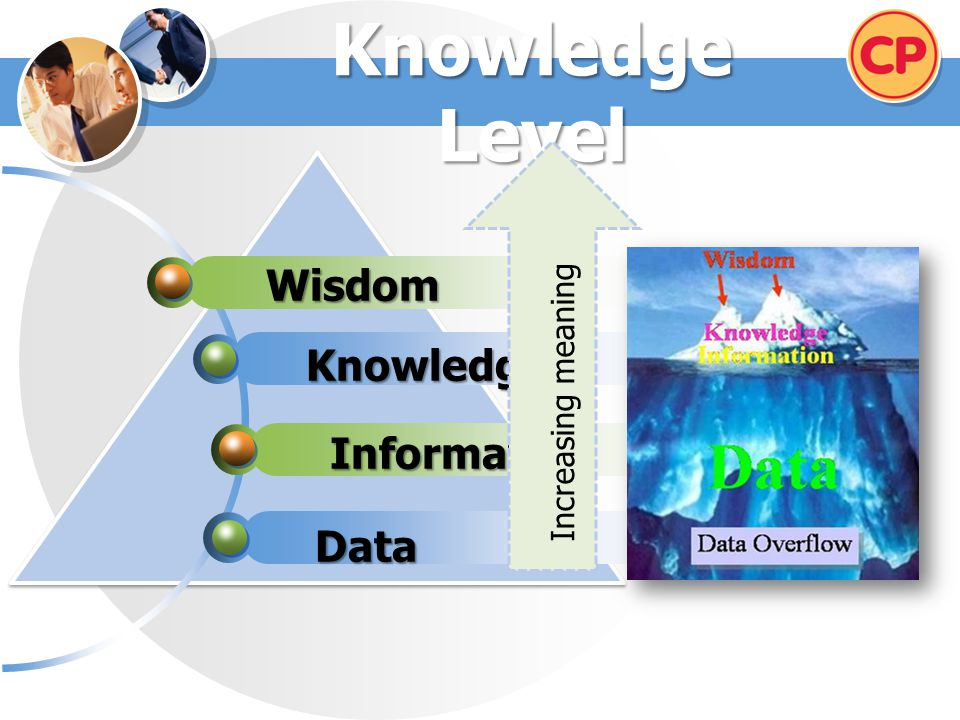 Knowledge Level Wisdom Knowledge Increasing meaning Information Data