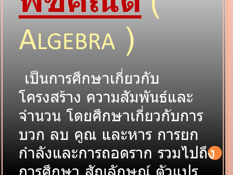 พีชคณิต ( Algebra )