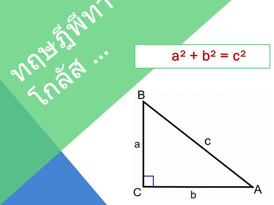 ทฤษฎีพีทาโกลัส … a² + b² = c²