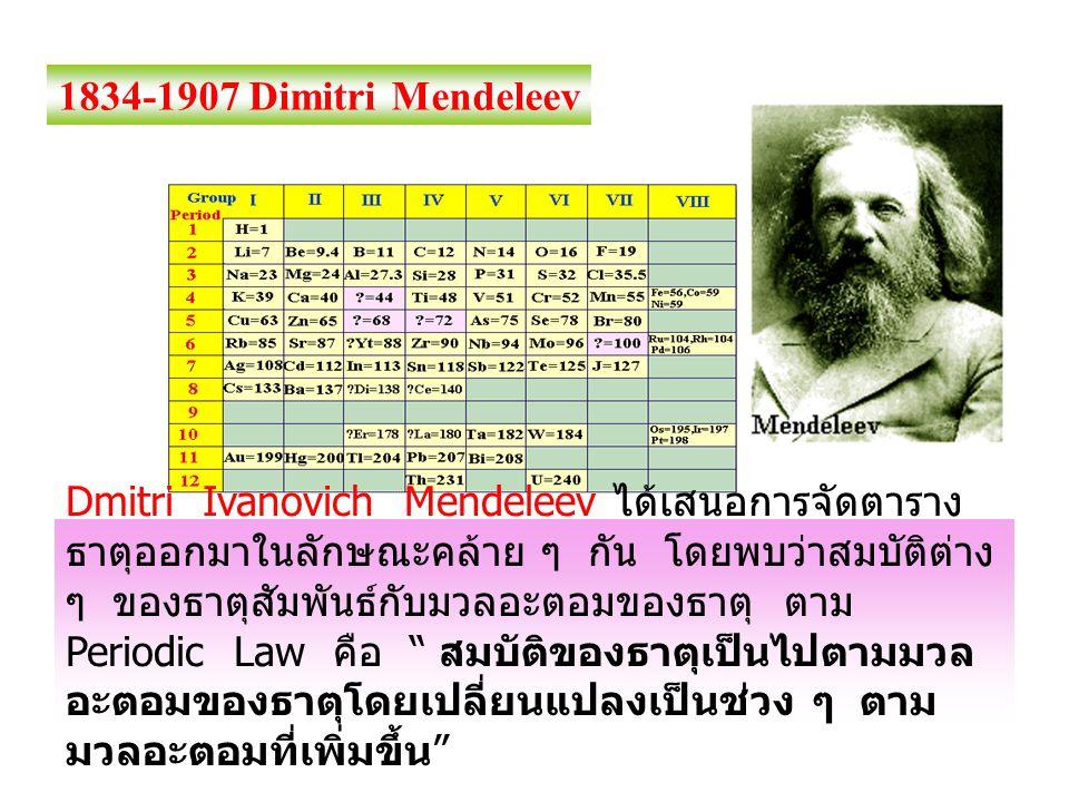 1834-1907 Dimitri Mendeleev