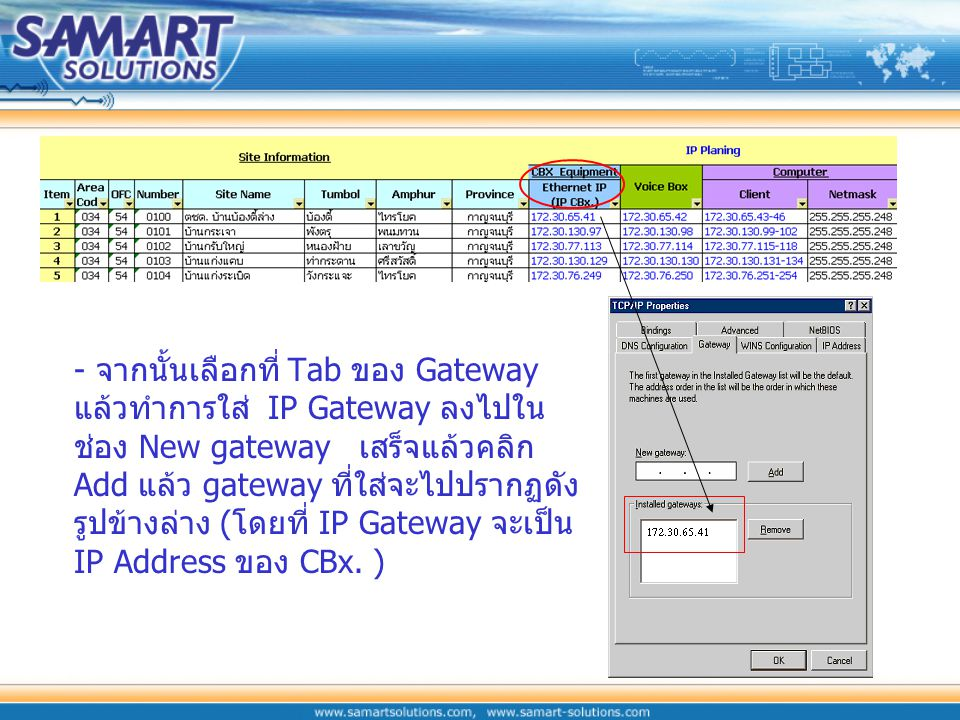 - จากนั้นเลือกที่ Tab ของ Gateway แล้วทำการใส่ IP Gateway ลงไปในช่อง New gateway เสร็จแล้วคลิกAdd แล้ว gateway ที่ใส่จะไปปรากฏดังรูปข้างล่าง (โดยที่ IP Gateway จะเป็น IP Address ของ CBx.