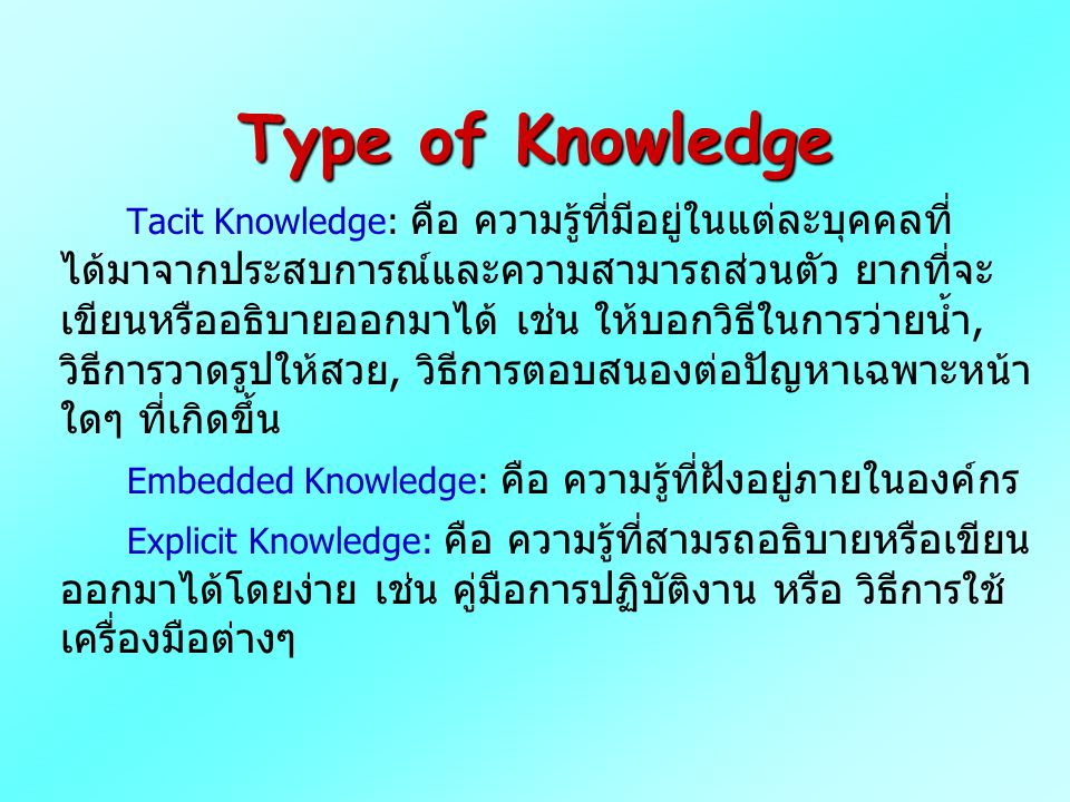 Type of Knowledge