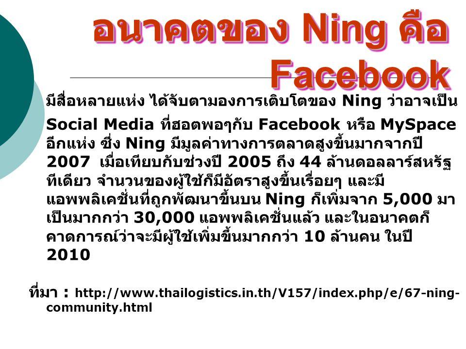 อนาคตของ Ning คือFacebook