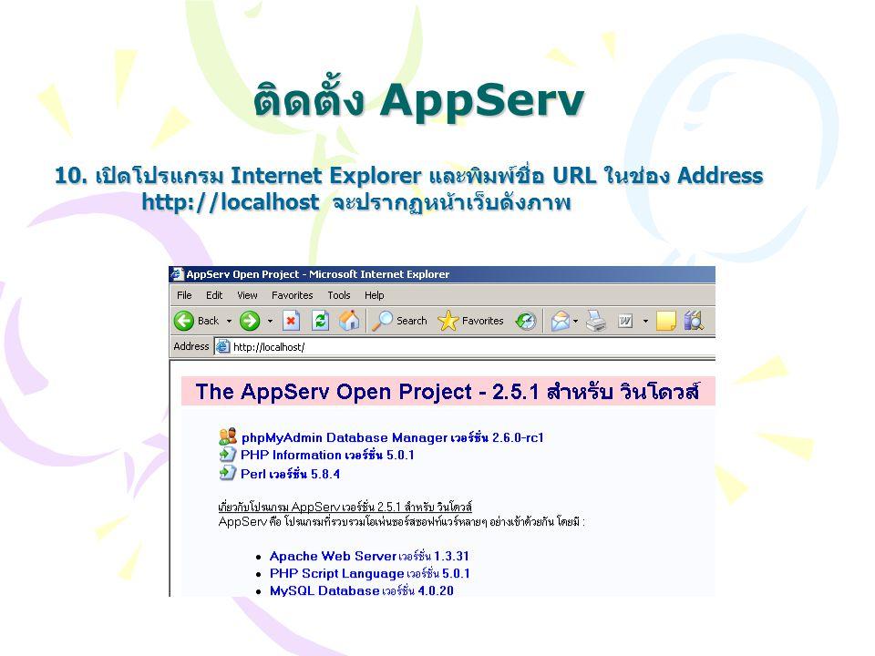 ติดตั้ง AppServ 10. เปิดโปรแกรม Internet Explorer และพิมพ์ชื่อ URL ในช่อง Address.