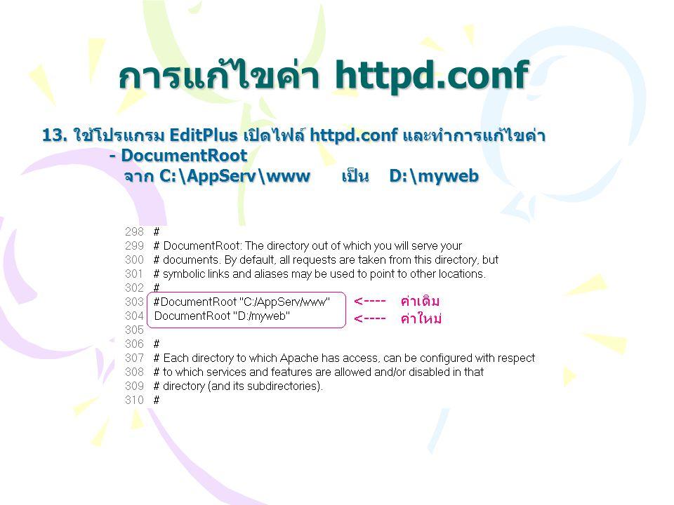การแก้ไขค่า httpd.conf