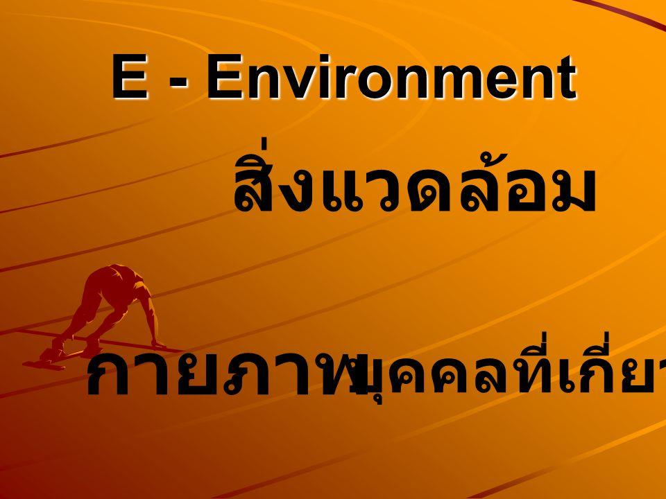 E - Environment สิ่งแวดล้อม กายภาพ บุคคลที่เกี่ยวข้อง