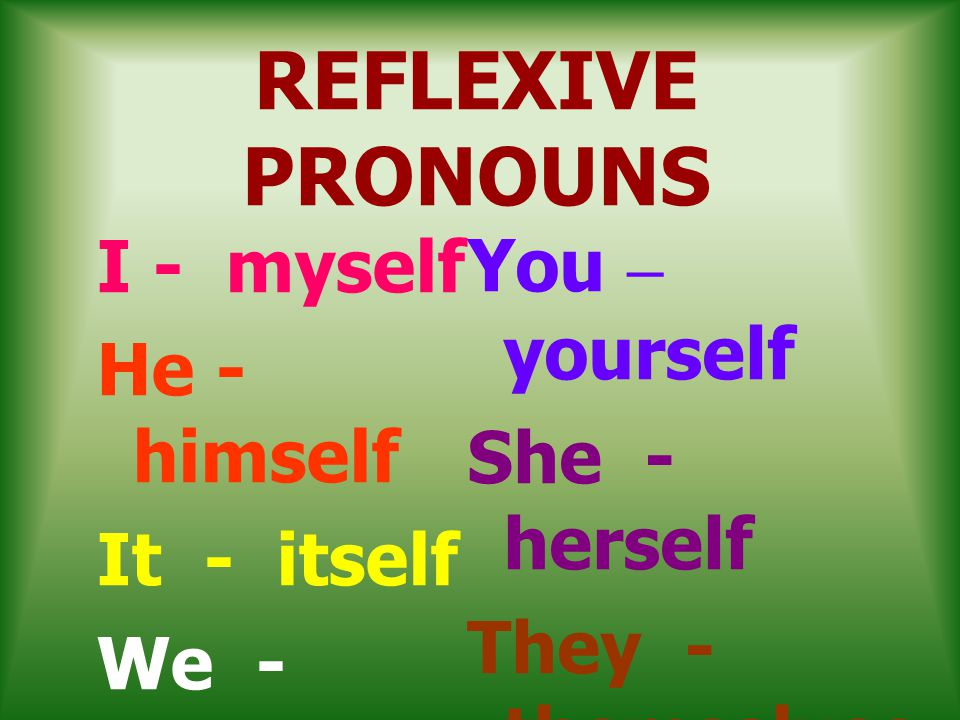 REFLEXIVE PRONOUNS I - myself He - himself It - itself We - ourselves
