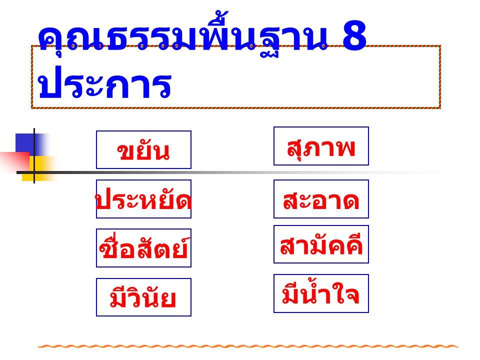คุณธรรมพื้นฐาน 8 ประการ
