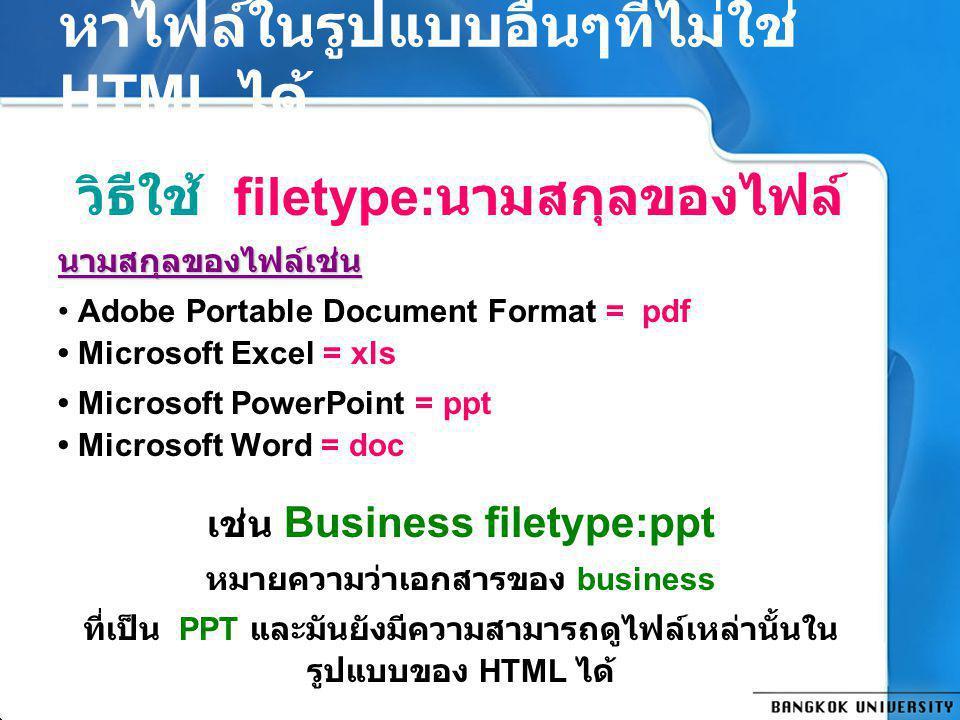 หาไฟล์ในรูปแบบอื่นๆที่ไม่ใช่ HTML ได้