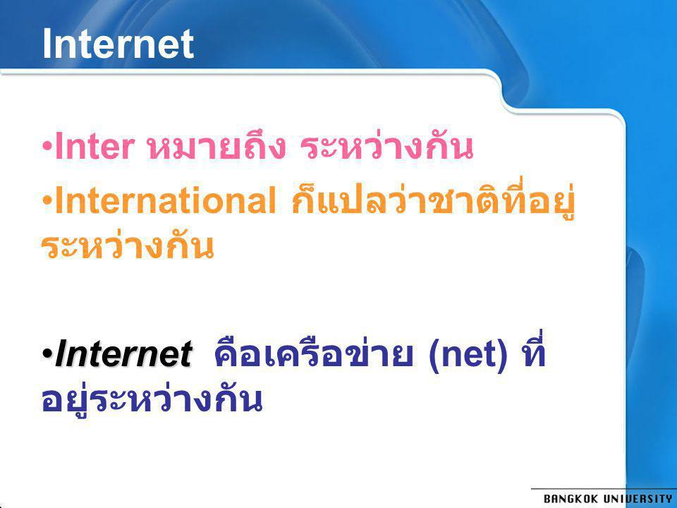 Internet Inter หมายถึง ระหว่างกัน