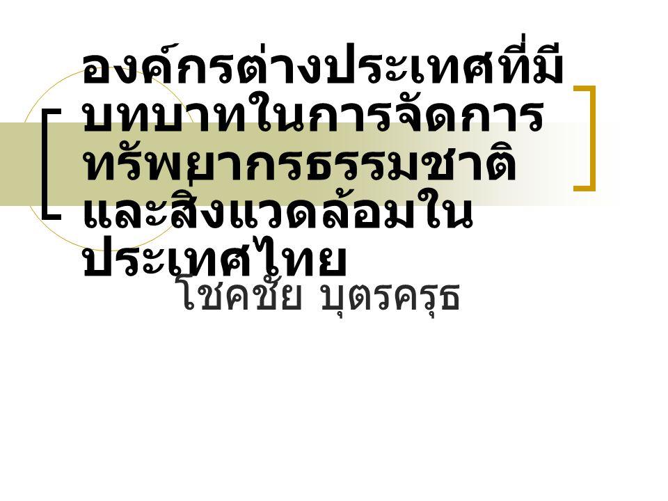 องค์กรต่างประเทศที่มีบทบาทในการจัดการทรัพยากรธรรมชาติและสิ่งแวดล้อมในประเทศไทย