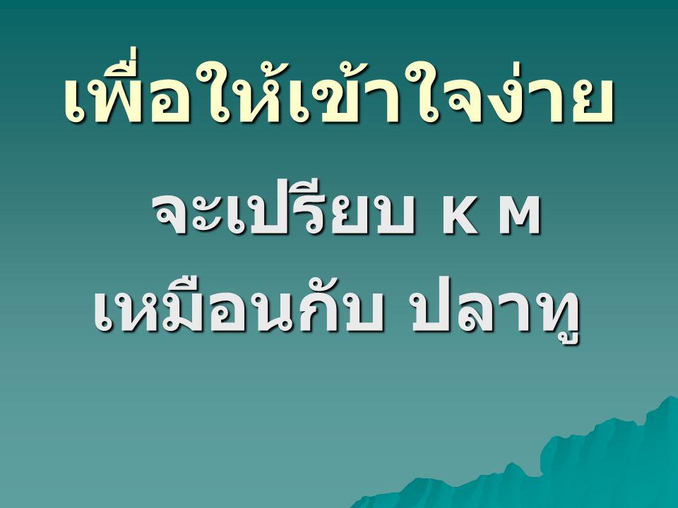 จะเปรียบ K M เหมือนกับ ปลาทู