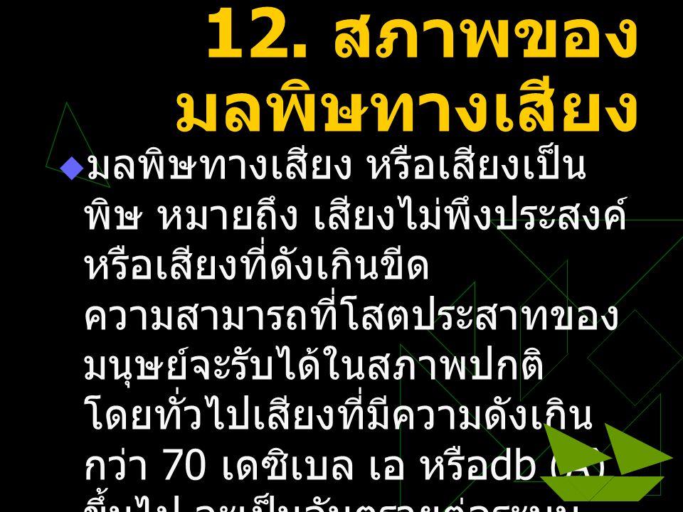 12. สภาพของมลพิษทางเสียง