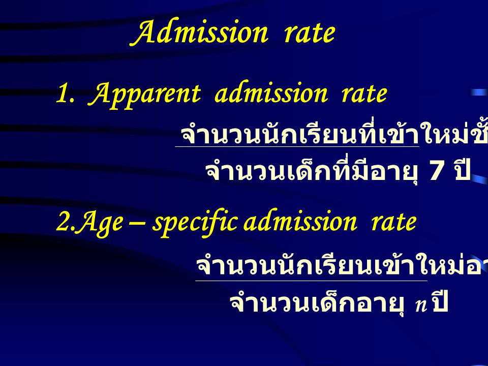 Admission rate 1. Apparent admission rate