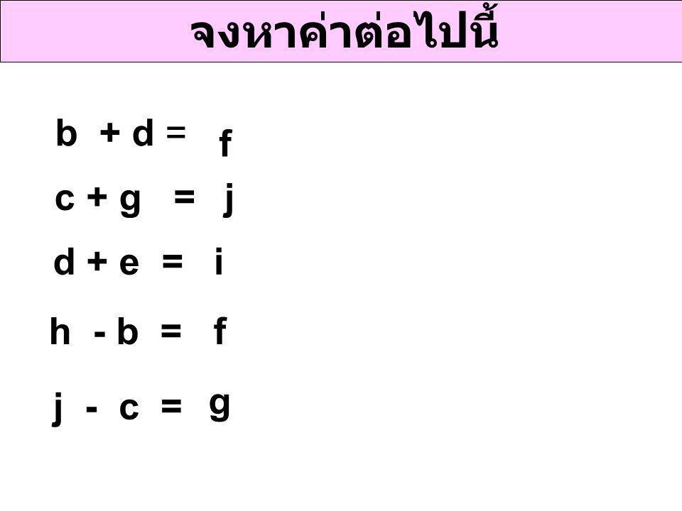 จงหาค่าต่อไปนี้ b + d = f c + g = j d + e = i h - b = f g j - c =