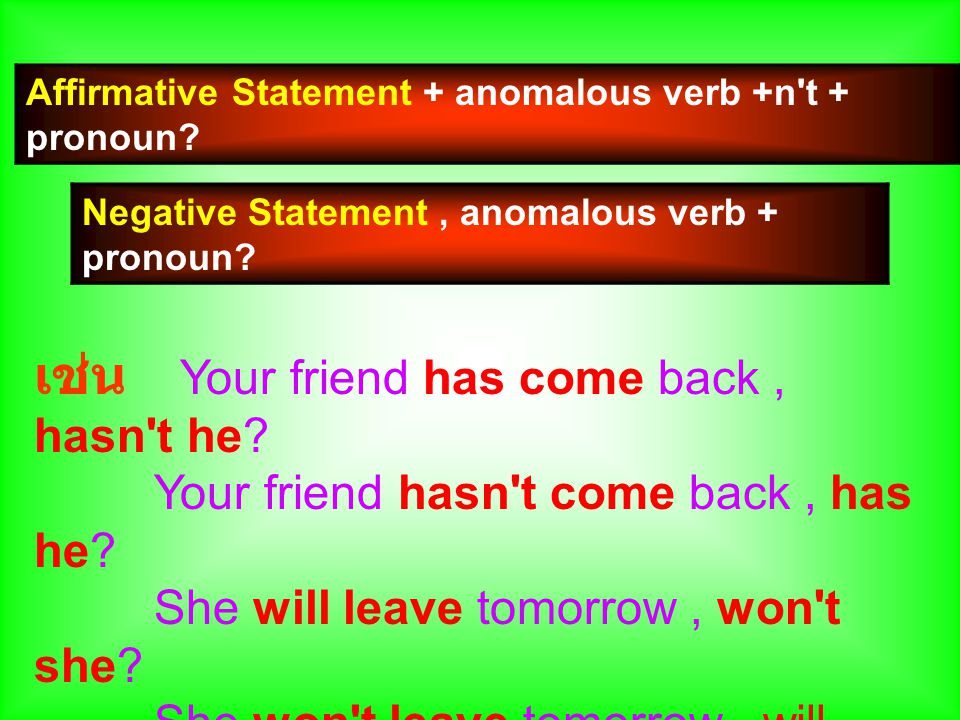 Affirmative Statement + anomalous verb +n t + pronoun